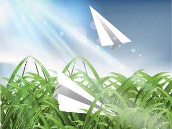 Vector illustration of natural scene, Paper plane between grass.